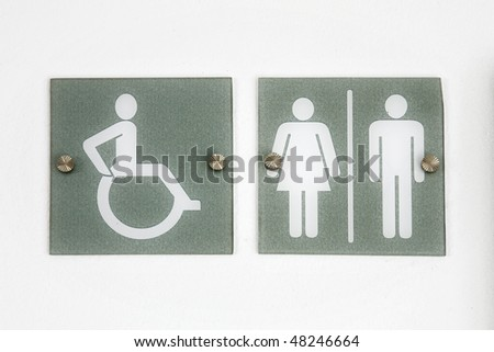 Washroom sign for men, women and persons with disabilities