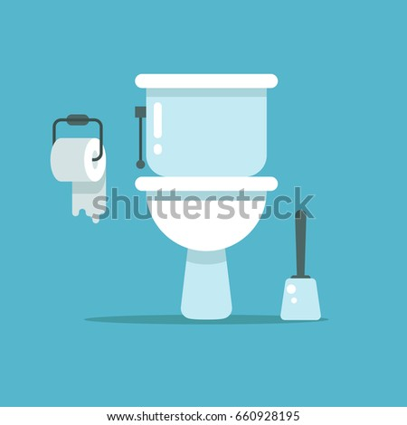 Washroom, toilet bowl, bidet with with toilet paper and toilet brush illustration. Toilet room with brush and paper