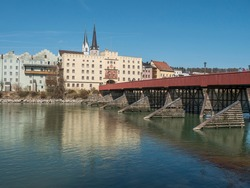 Wasserburg is a historic town on the Inn River in the spring sunshine