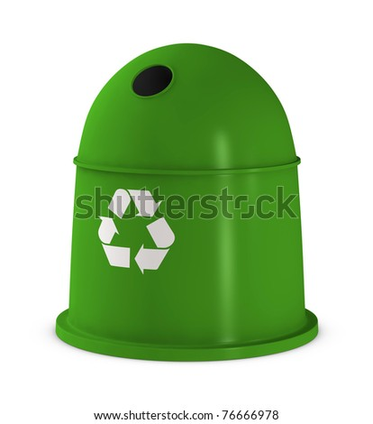waste container with recycling symbol (3d render)