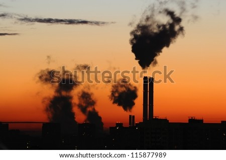 Waste gas fumes emission in dawn/dusk
