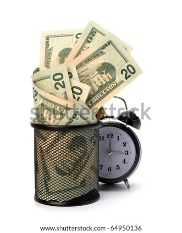 Waste of money concept. Dollars in garbage bin isolated on white background.