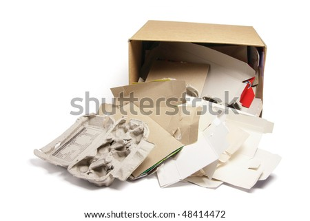 Waste Paper Products in Cardboard Box on White Background