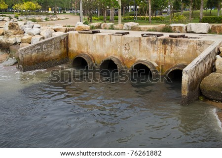 waste pipe or drainage polluting environment, concrete pipe