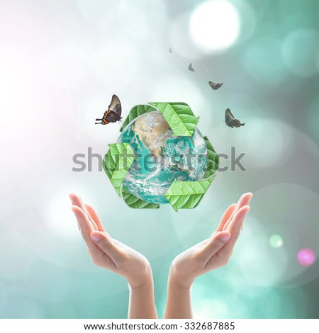Waste recycle management, eco friendly, energy saving awareness and save biological sustainability concept: Elements of this image furnished by NASA