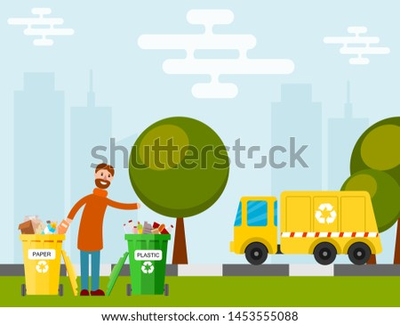 Waste recycling garbage process factory truck brought processing industry processed manufacturing production illustration.