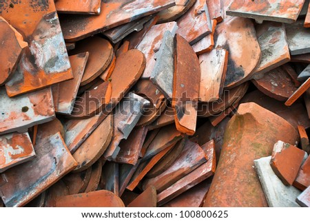 Waste roofing tiles