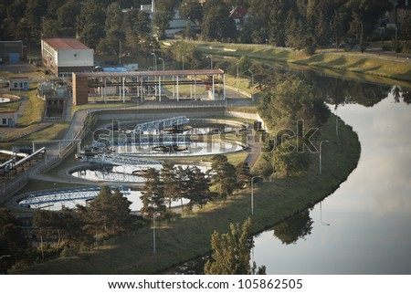 Waste water treatment plant at the sunrise, Prague, Czech Republic