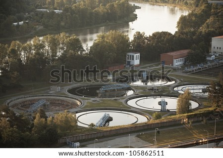 Waste water treatment plant at the sunrise, Prague, Czech Republic