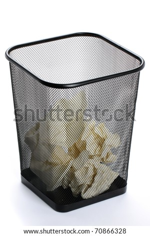 Wastebasket on white background