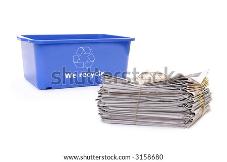 Wastepaper and blue plastic disposal bin with white recycle symbol over white