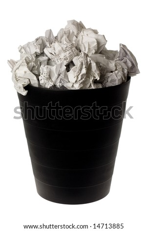 Wastepaper basket full of crumpled paper isolated on white background