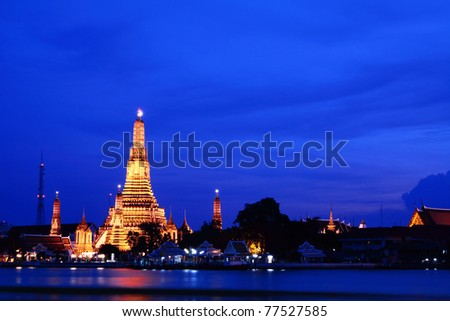 Wat Arun at twilight, the Old Temple of Bangkok, Thailand
