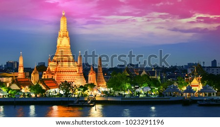 Wat Arun Ratchawararam, a Buddhist temple in Bangkok, Thailand.