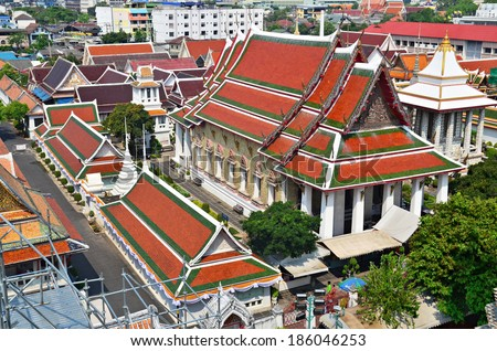 Wat Arun, red roofs of Temple of the Dawn, aerial view, Bangkok, Thailand