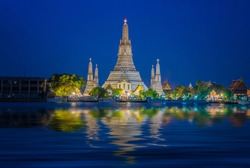 Wat Arun temple an icon of Bangkok city, Thailand and Travel in Asia.