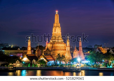 Wat Arun Temple at twilight in bangkok Thailand .