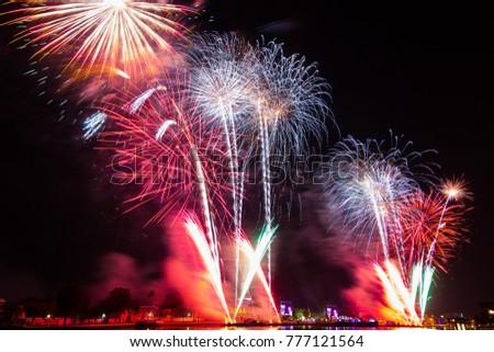 Wat Arun Temple, Bangkok, Happy New Year countdown fireworks celebration time, Thailand Foto stock ©