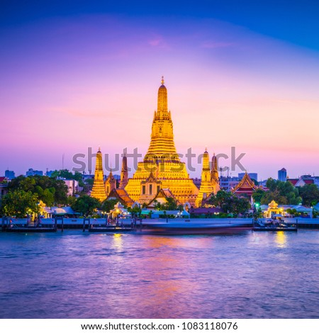 Wat Arun Temple of dawn in Bangkok Thailand after restoration, 2018