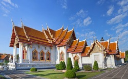 Wat Benchamabophit Dusitvanaram - buddhist Temple in Bangkok, Thailand. Also known as the Marble Temple, it is one of Bangkok's best-known temples and a major tourist attraction