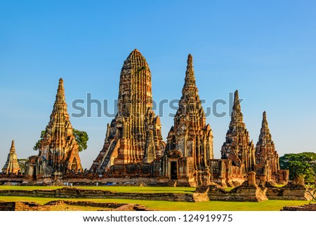 Wat Chai Watthnaram the historic temple in Ayutthaya, Thailand at early-evening.