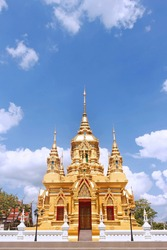 Wat Khamaet temple, Gold temple with blue sky in ChiangMai Thailand.