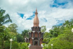 Wat PA Udom Somphon,Achan Fan Acharo Museum,There is a wax sculpture of Achan Fan Acharo,This pagoda was built to commemorate the history of Achan Fan Acharo,Phanna Nikhom, Sakon Nakhon,Thailand.