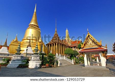 Shutterstock Wat Phra Kaeo, Temple of the Emerald Buddha and the home of the Thai King. Wat Phra Kaeo is one of Bangkok's most famous tourist sites and it was built in 1782 at  Bangkok, Thailand.