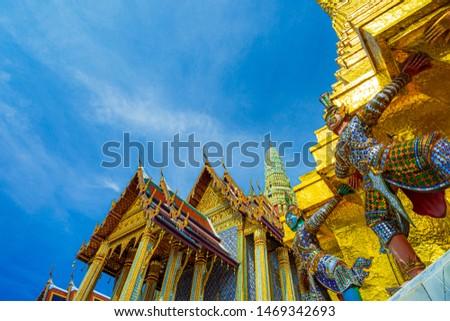 Wat Phra Kaew Ancient temple in bangkok Thailand,Bangkok, Thailand, Asia, Southeast Asia, Wat Phra Kaeo #1469342693