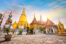 Wat Phra Kaew in Bangkok, Thailand - is a sacred temple and it's a part of the Thai grand palace, the Temple houses an ancient Emerald Buddha