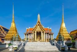Wat Phra Kaew or Emerald Buddha Temple a tourist landmark in Bangkok Thailand