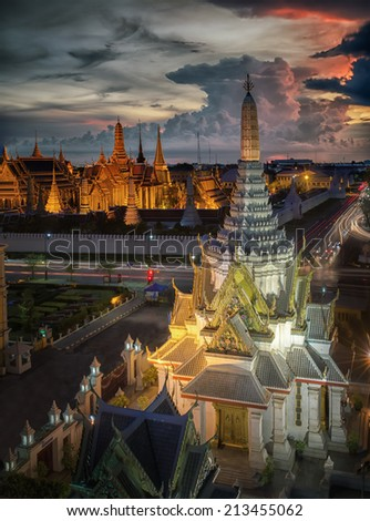 Wat Phra Kaew Temple of the Emerald Buddha Grand palace at twilight in Bangkok Thailand