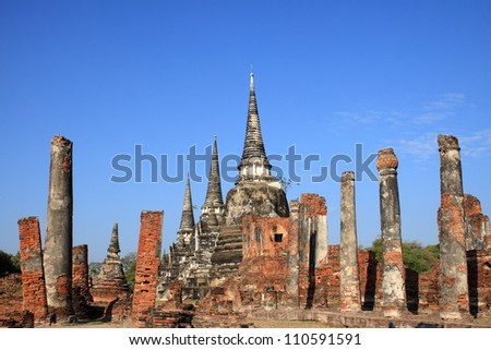 Wat phra sri sanphet at Ayutthaya province in Thailand