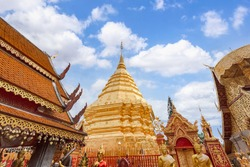 Wat Phra That Doi Suthep is tourist attraction of Chiang Mai, Chiag Mai Province, Thailand
