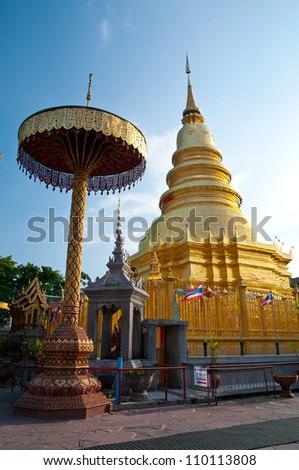 Wat Phra That Mon Haripunchai Ads in Bangalore. - stock photo