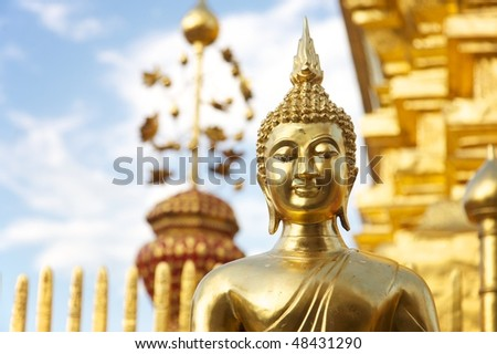 Wat Phratat Doi Suthep temple, Chiang Mai (Thailand) - Golden statue of Buddha