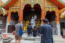 Wat Phrathat Doi Suthep temple or Wat Phra That Doi Suthep Ratchaworawihan,Golden pagoda,On the mountain,in Chiang Mai, Thailand on Jan 09 2019