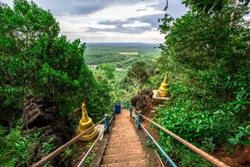 Wat Tham Seua Krabi,atmosphere on the mountain side,steep stairs,allow tourists to go up to see the scenery and pay respect to the Big Buddha on the hill (Tiger Cave Mountain),thailand