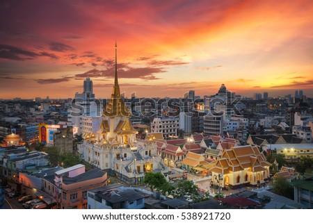 Wat Trimit and China town area in Bangkok city, Bangkok, Thailand #538921720