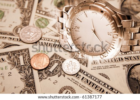 Watch and American currency. Time is money concept