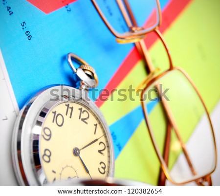 Watch and glasses on graphs.