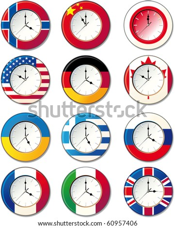 Watch, at which the flags of some countries. Raster version