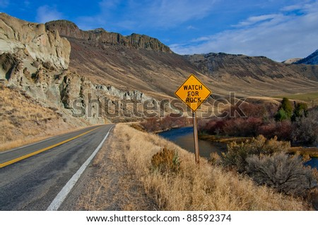 Watch for Rock Sign:  A road sign warns of possible fallen rock on a scenic highway in eastern Idaho.