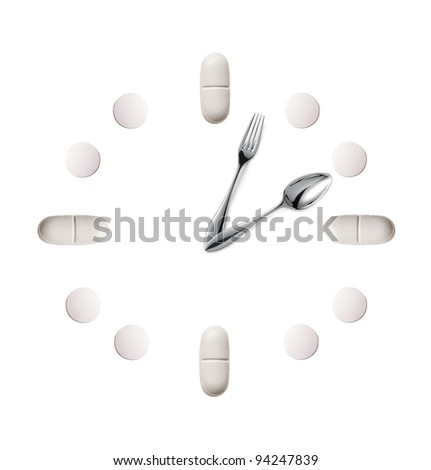 watch made up out of white tablets and fork with spoon