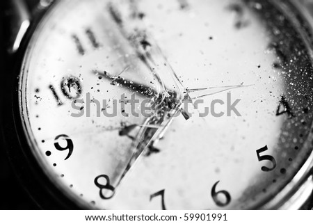 Watch. Old pocket clock with broken glass