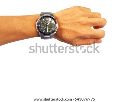 Watch on the arm of asian man.