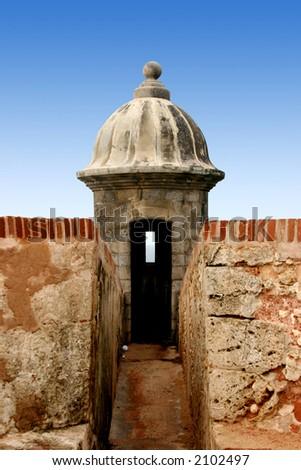 Watch point at El Morro Castle in San Juan Puerto Rico, colonial building.