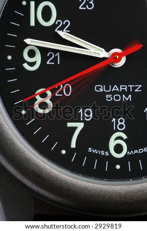 Watch the seconds, 4 seconds pass with fading hands