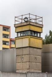 Watch Tower at Berlin Wall Memorial. Germany communism communist guard shooter 1989 east west barrier