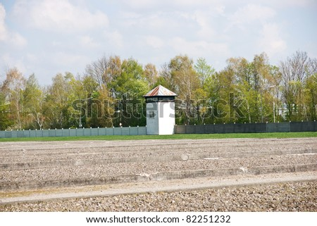 watch tower on the perimeter of the Dachau concentration camp